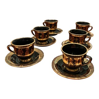 Mid 20th Century Porcelain Cup and Saucer Set With Greek Decoration - Set for 6