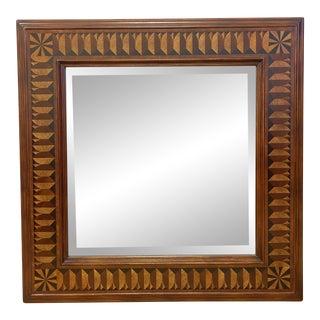 John Richard European Crossroads Square Wood Inlaid Mirror For Sale