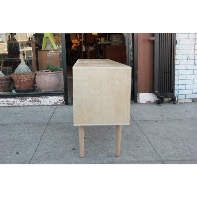Mid-Century Modern Mid-Century Maple Vinyl Organizer Credenza For Sale - Image 3 of 12