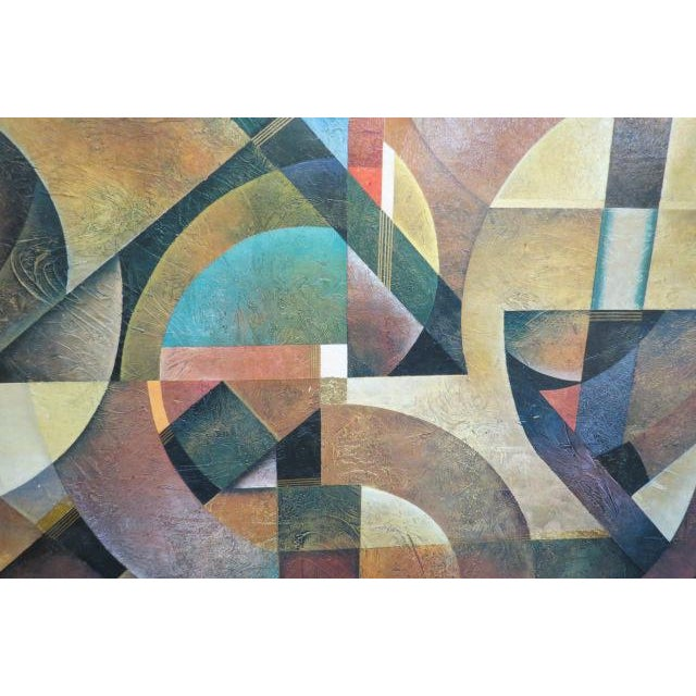 Vintage Post Modern Geometric Acrylic Paining on Canvas For Sale - Image 4 of 5