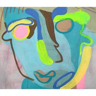 """Contemporary Abstract Portrait Painting """"Let's Have Some Fun, No. 3"""" Preview"""