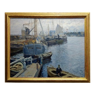 1900s Vintage Boats in a Crowded Harbor Impressionist Oil Painting by Ulrich Hübner For Sale