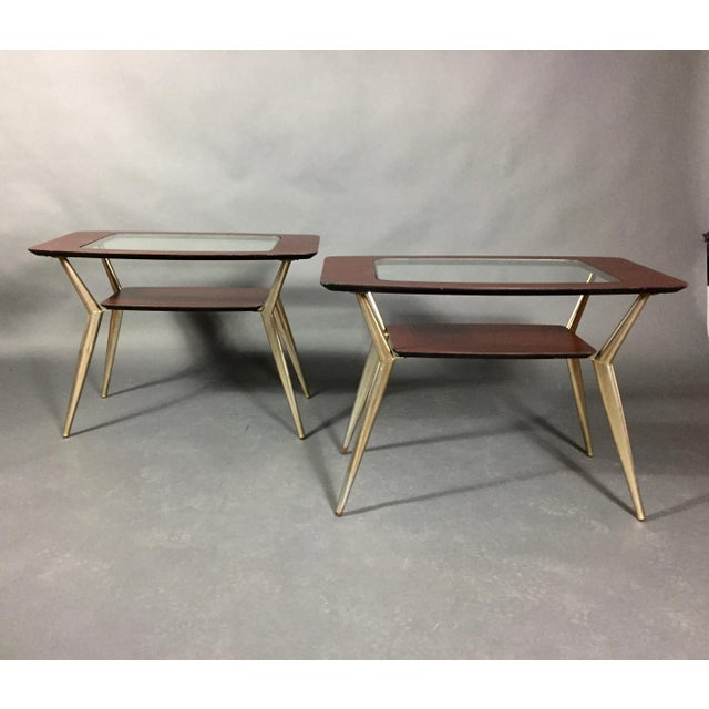 Pair of Atomic Metal and Glass Side Tables, Usa, 1970 For Sale - Image 4 of 10