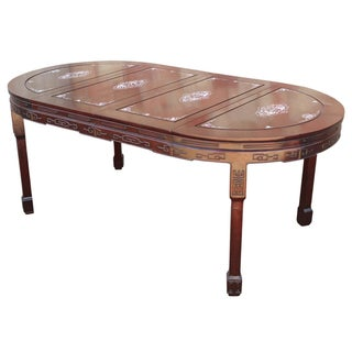 Chinese Rosewood & Mother of Pearl Dining Table For Sale