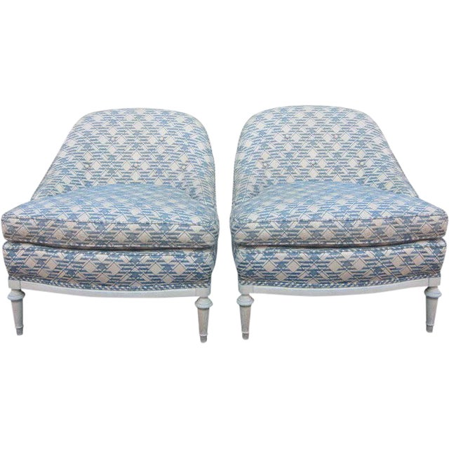 Pair of French Fauteuils / Slipper Chairs For Sale