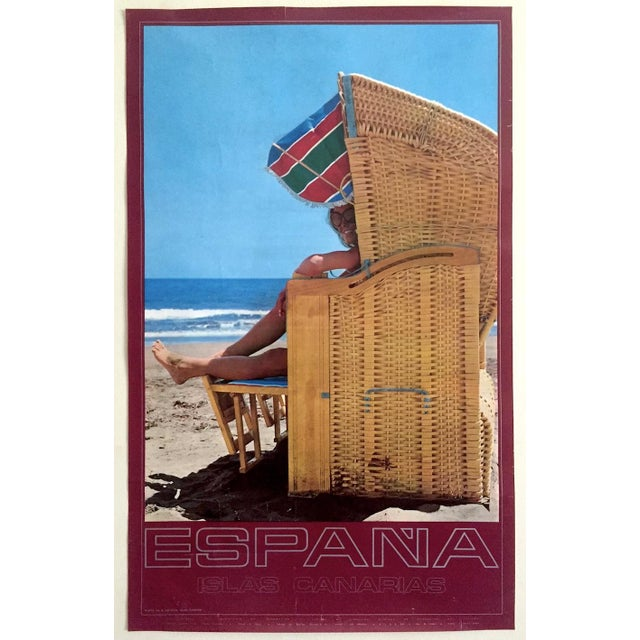 Espana Canary Islands Rare Mid Century Vintage 1960's Collector's Spain Travel Poster For Sale - Image 12 of 13