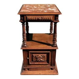 Antique Old Paris Apartment Carved Mahogany Night Stand or End Table For Sale