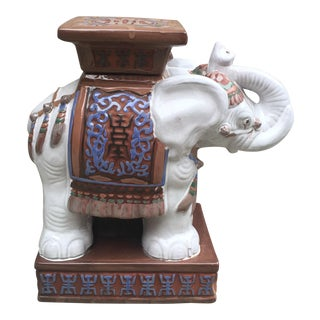 Vintage Chinoiserie Ceramic Elephant Garden Stool