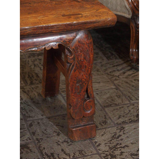Antique Chinese Shanxi Province Painted Elm Bench, circa 1860 For Sale In New Orleans - Image 6 of 8