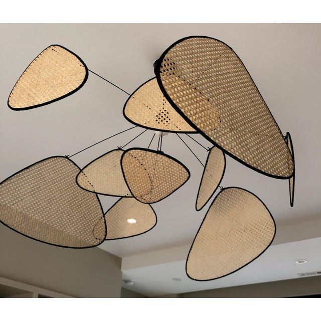 2020s Rattan Mobile Pendant Light For Sale - Image 5 of 5