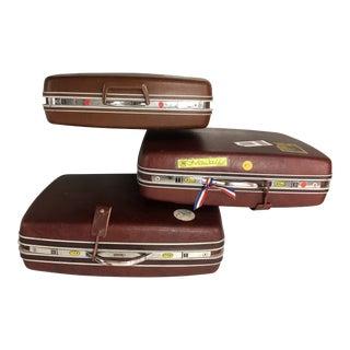 Vintage Samsonite Chestnut Suitcases - Set of 3 For Sale