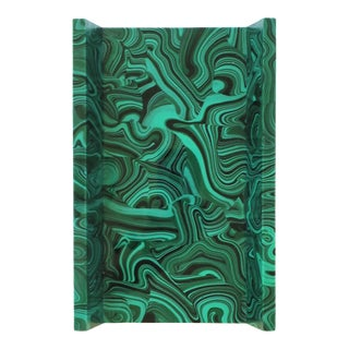 Green Malachite Style Paper Napkin or Hand-Towel Holder Tray For Sale