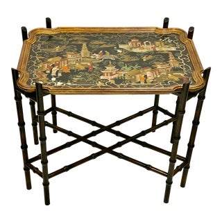 Baker Furniture Chinoiserie Chippendale Style Tray Table For Sale