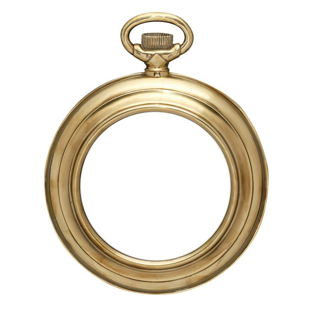 Vintage Brass Pocket Watch Mirror For Sale - Image 10 of 10