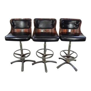 Vintage Mid Century Bar Stools- Set of 3 For Sale