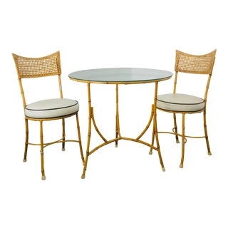 Vintage Chippendale Iron Faux Bamboo Patio Breakfast Table and Chairs Bistro Set Allegro Palm Beach Style For Sale
