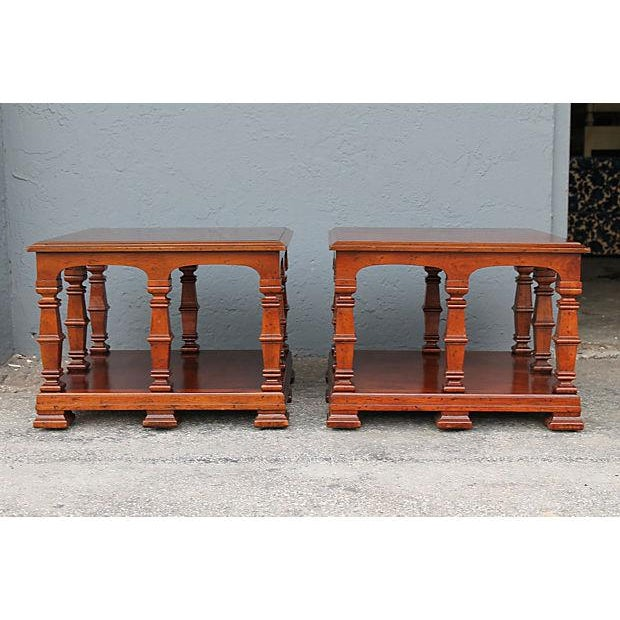 Mid-Century Modern Carved & Detailed Wood End Tables - A Pair For Sale - Image 3 of 9