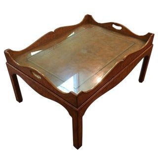 20th Century Regency Maitland-Smith Leather Wrapped Coffee Table For Sale