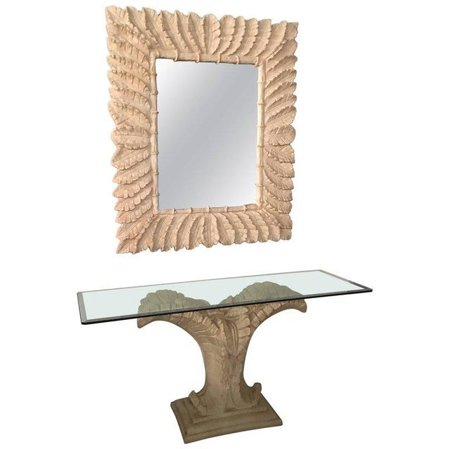 Tropical Palm Tree Faux Bamboo Console Table & Mirror - A Pair For Sale - Image 11 of 11
