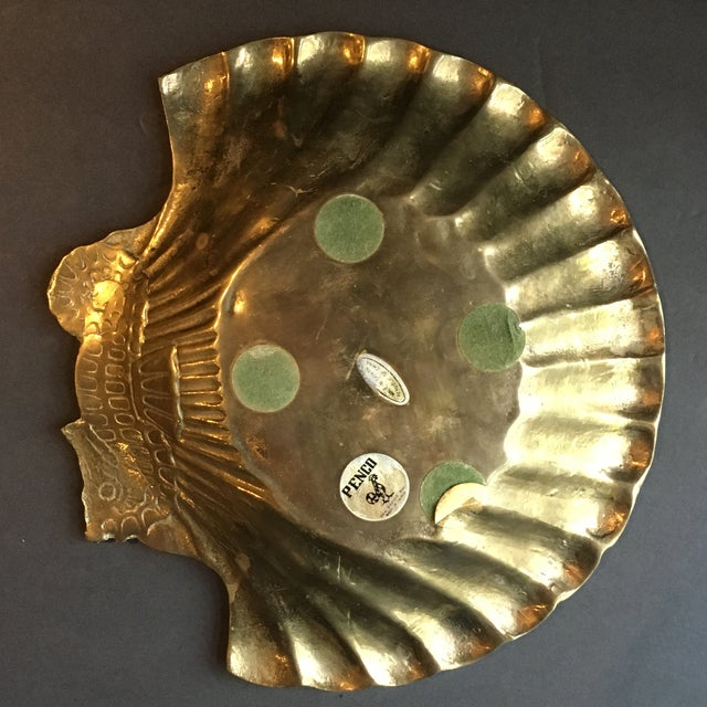 1980s Hollywood Regency Brass Seashell & Seahorse Catchall Dish For Sale - Image 4 of 6