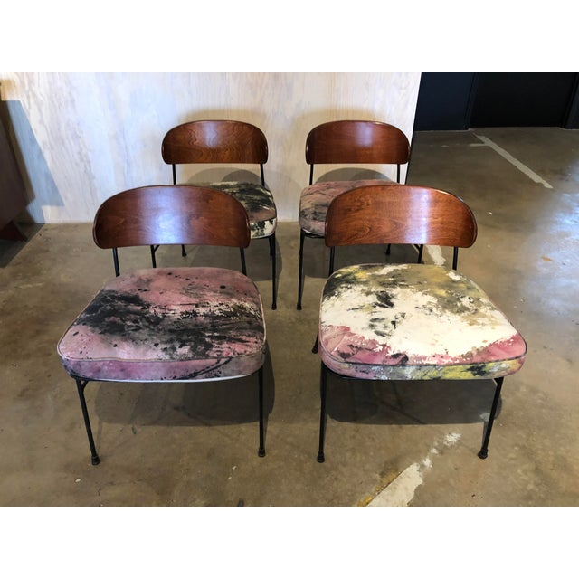 Mid-Century Modern Paul Laszlo for Pacific Iron Walnut and Iron Chairs For Sale - Image 3 of 9