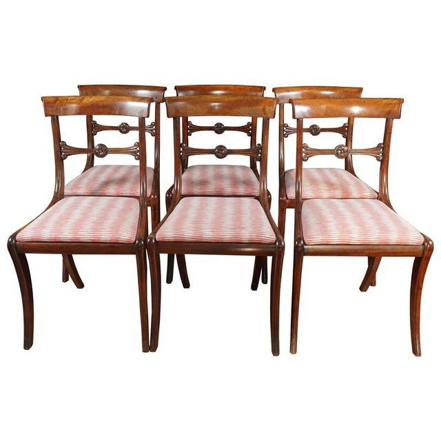 Brown Early 19th Century Vintage English Regency Mahogany Side Chair- Set of 6 For Sale - Image 8 of 8