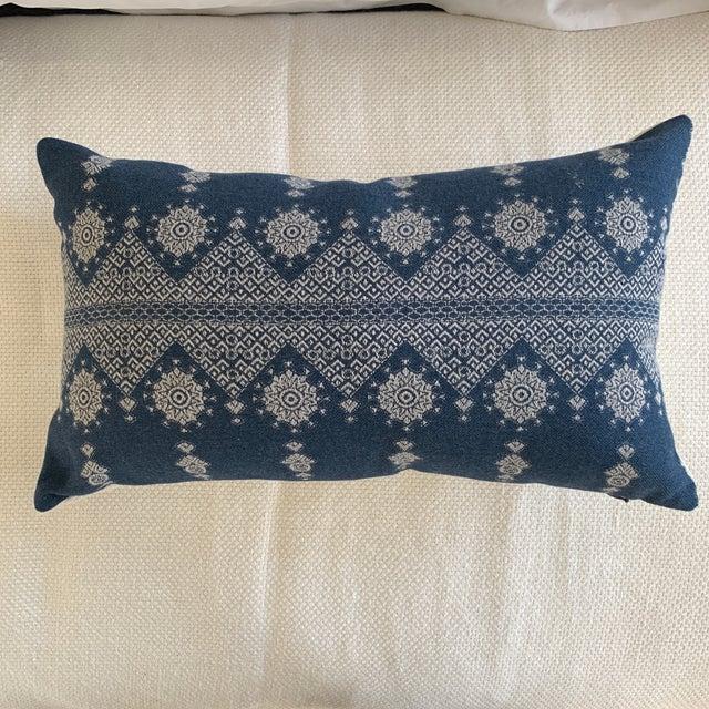 Navy Blue Peter Dunham Navy Blue Lumbar Pillow Cover For Sale - Image 8 of 8