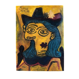 1953 Manner of Pablo Picasso, Woman in Hat Surrealist Painting For Sale