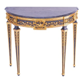 20th C. Italian Style Giltwood Marble Top Console For Sale