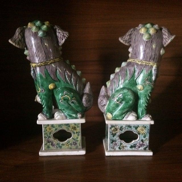 Asian Famille-Verte Porcelain Foo Dogs - Pair For Sale - Image 3 of 9
