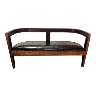 Modern Handmade Moroccan Cedar Wood Bench For Sale