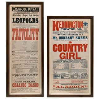 Two English Theatre Advertising Posters, Circa 1900 For Sale