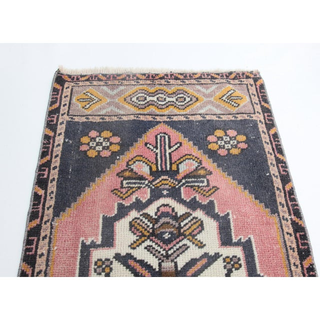"""Islamic 1960s Turkish Pure Wool Carpet - 43"""" X 21"""" For Sale - Image 3 of 11"""