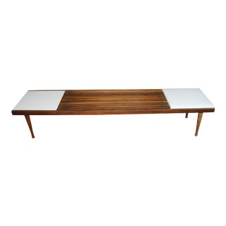 1960s Mid-Century Modern Slatted Bench Table For Sale