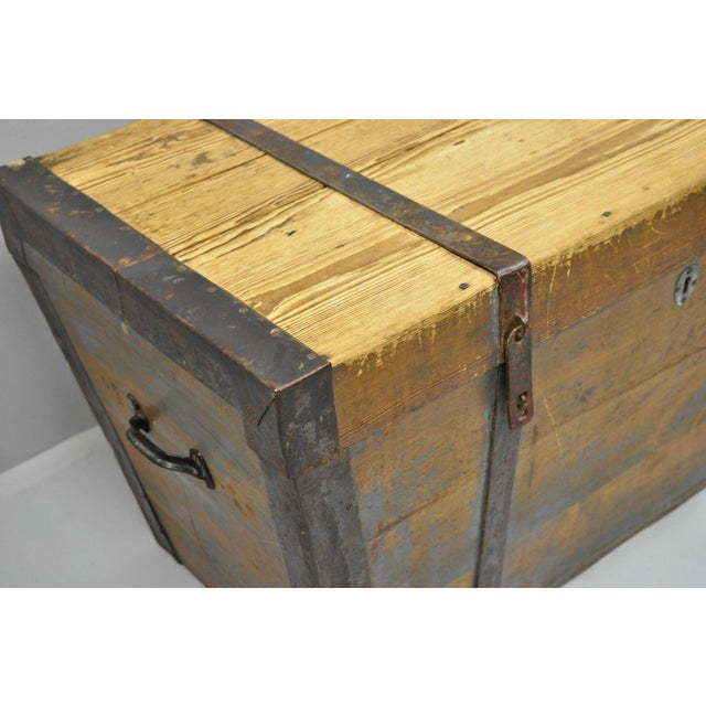 Late 19th Century Late 19th Century Antique Primitive Wooden Trunk/Blanket Chest For Sale - Image 5 of 13