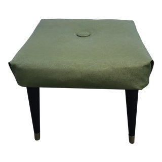 1960s Mid Century Green Vinyl Tapered Leg Ottoman