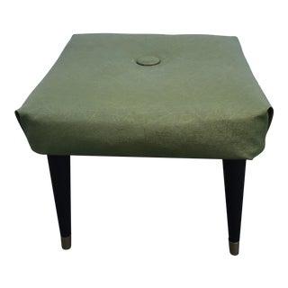 1960s Mid Century Green Vinyl Tapered Leg Ottoman For Sale