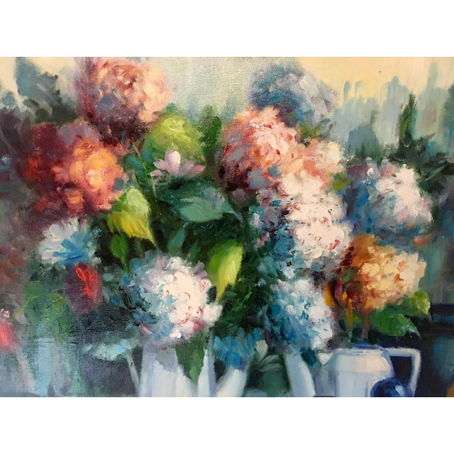 Mediterranean Vintage Still Life With Flowers Oil Painting by Manuel Cuberos For Sale - Image 3 of 12