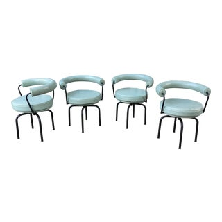 Le Corbusier, Perriand & Jeanneret Cassina Swivel Lc7 Chairs by - Set of 4 For Sale