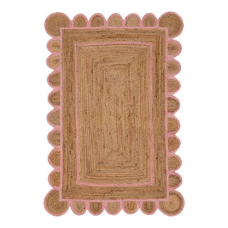 Scallop Jute Light PInk Hand Made Rug - 3'x5' For Sale