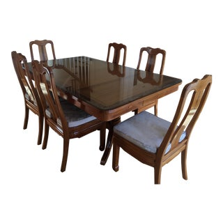 Oriental Style Band of Inlaid Burl Wood Dining Furniture-Set of 8 For Sale