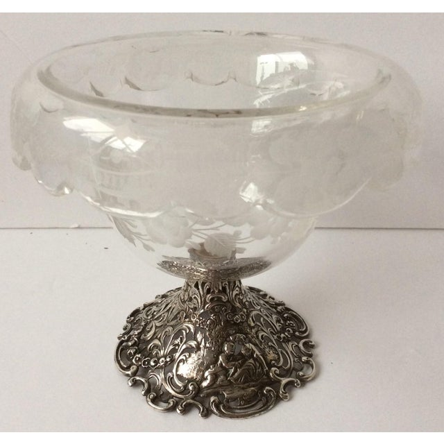 English European Etched Crystal & Silver Compote For Sale - Image 3 of 9