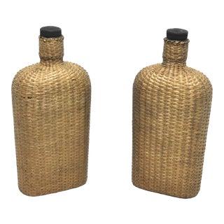 Antique Basket Woven Glass Bottle Flasks - a Pair For Sale