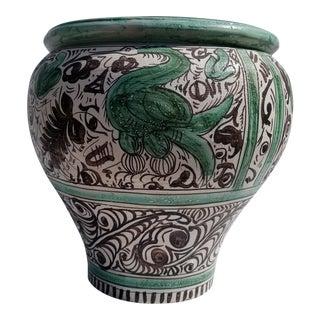 Vintage Spain Folklore Art Hand Painted Decorative Planter Pot