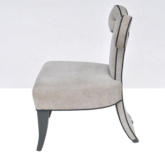 Textile Pair of Rams Head Dining Side Chairs by Brueton For Sale - Image 7 of 11