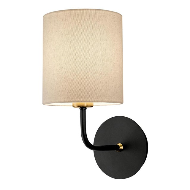 Mid-Century Modern Satin Black With Brushed Brass Wall Light With Shade For Sale - Image 3 of 3