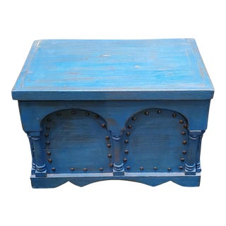 1990s Moroccan Blue Painted Wooden Trunk For Sale