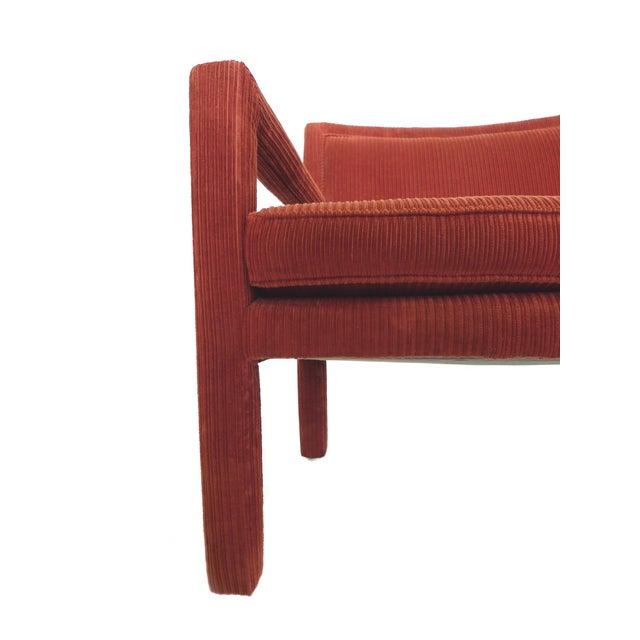 1970s Milo Baughman-Style Corduroy Armchair - Pair For Sale - Image 10 of 10