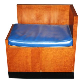 1970s Mid-Century Modern Vinyl Blue Corner Chair For Sale