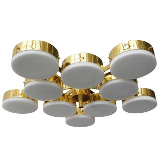 Brass and Glass Flush Mount in the Manner of Angelo Lelli For Sale